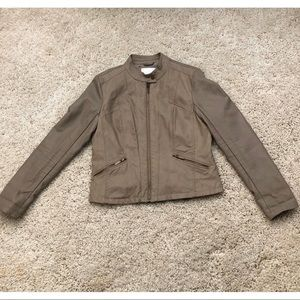 Taupe Faux Leather Jacket with snakeskin pattern